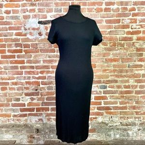 Stretchy Knit T-Shirt Dress with Short Sleeves Blk